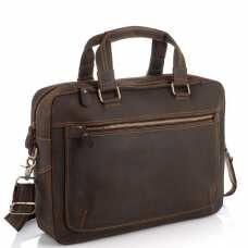 Винтажная сумка для ноутбука коричневая Tiding Bag D4-005R