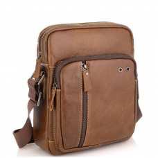 Мужская сумка через плечо из натуральной кожи светло коричневая Tiding Bag N2-9003B