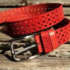 Кожаный ремень Clasico, красный