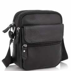 Мужская кожаная сумка черная через плечо Tiding Bag NM20-1812A