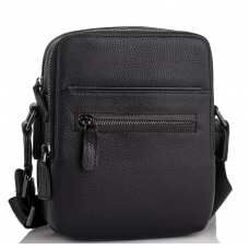 Мужская кожаная сумка через плечо черная Tiding Bag NM11-7515A
