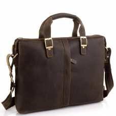 Деловая мужская кожаная сумка для ноутбука и документов Tiding Bag D4-004R