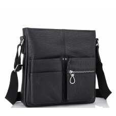 Мужская кожаная сумка через плечо черная Tiding Bag SM8-008A
