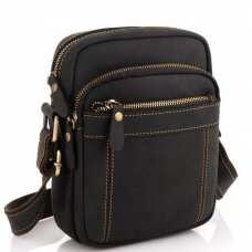 Мужская сумка на плечо черная кожаная Tiding Bag t0036A
