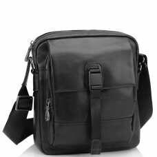 Мужская кожаная сумка через плечо черная Tiding Bag 316A