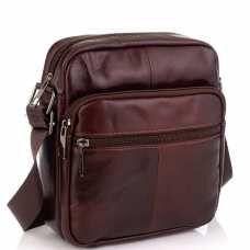 Кожаная мужская сумка через плечо коричневая Tiding Bag NM20-2610C