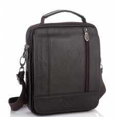 Мужская кожаная сумка-барсетка с плечевым ремнем коричневая HD Leather NM24-213C-1