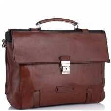 Стильный мужской кожаный коричневый портфель Tiding Bag t0041