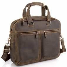 Винтажная сумка для ноутбука коричневая Tiding Bag D4-001G