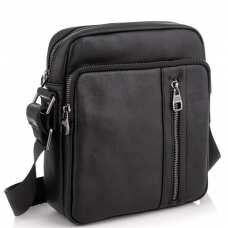 Мессенджер через плечо мужской кожаный черный Tiding Bag 9836A
