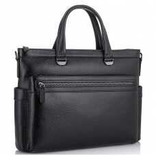 Классическая мужская черная кожаная сумка Tiding Bag SM8-8990-1A